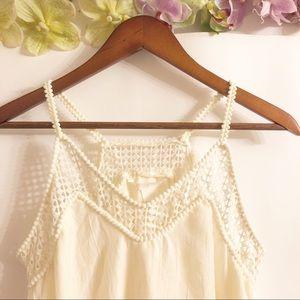 H&M | NWOT CREAM BOHEMIAN CROCHETED FLOWY DRESS